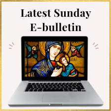 Laptop image with picture of OLPH icon announcing e-bulletin at OLPH