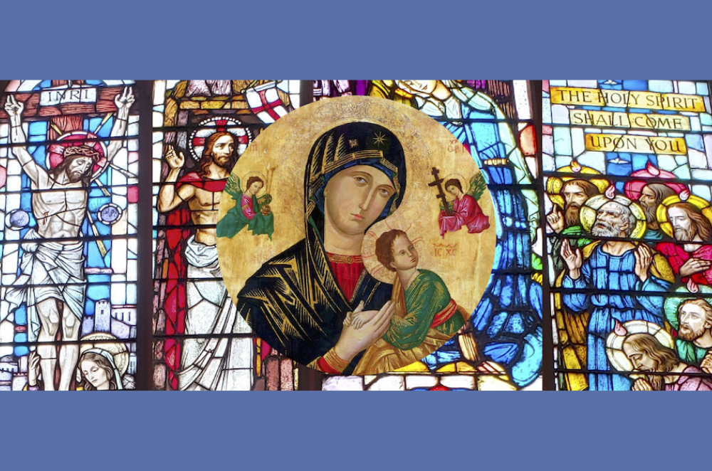 Blue welcome banner with image of OLPH Icon and stained glass images of Jesus and Pentecost