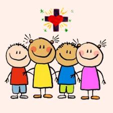Children standing together with a animated cross and heart above them