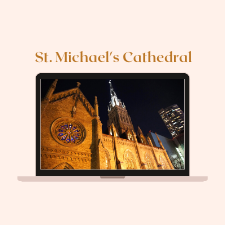 Laptop with image of exterior of St. Michael's Cathedral