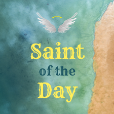 Text with Saint of the Day and beach background